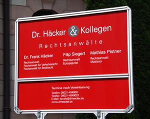 Impressum Rechtsanwaltkanzlei Dr. Häcker & Kollegen